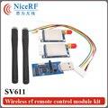 2 unids/lote SV611 433 MHz RS232 Módulo de RF Inalámbrico De Control Remoto Kit + 2 unids Rob Antena + 1 unid tablero puente usb