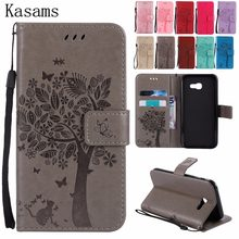 3D Boom Voor Samsung A5 2015 2016 2017 A500 A510 A520 A7 2016 A710 Telefoon Case PU Leather Flip Cover Boekenkast, Libro Stand, Fundas(China)