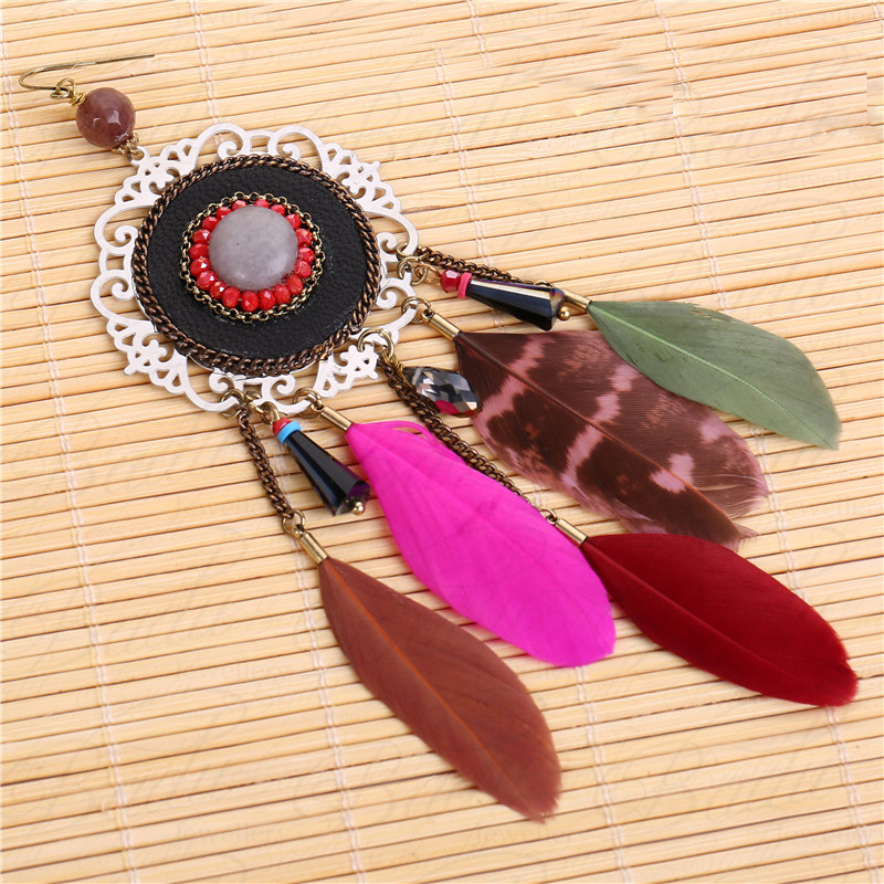 HTB1vnDwcGagSKJjy0Fcq6AZeVXaT - [Clearance] Women Vintage Bohemian Feather Earrings Filigree Colorful Feathers