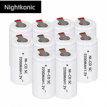Original High Quality  NIGHTKONIC 10 PCS/LOT  SC battery 2200mAh rechargeable subc battery replacement 1.2 v NI-CD with tab high quality only for russian buyers 34 pcs sc battery sub c rechargeable battery replacement 2200mah 1 2v ni cd blue color