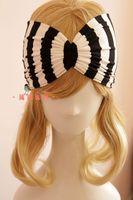 Hottest sensazione retrò strisce verticali bianche e nere fascia singola piega ala fascia elastica dei capelli turbante della boemia accessorio dei capelli