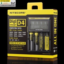 Ban đầu Nitecore D4 Pin Sạc LCD Sạc Thông Minh cho 18650 14500 16340 26650 Pin 12V Sạc dành cho MỘT AA pin AAA