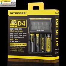 Original nitecore d4 carregador de bateria lcd inteligente de carregamento para 18650 14500 16340 26650 baterias 12v carregador para baterias aa aaa