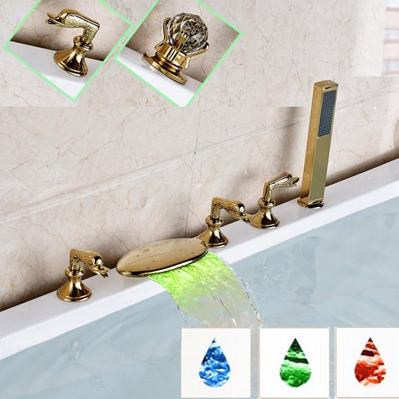 LED Light Three Handles Curve Spout Widespread Roman Tub Bathtub Mixer Faucet Taps Lavatory Plumbing Fixtures