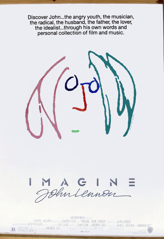 N1056 IMAGINE John Lennon 1988 Original Movie One Sheet Wall Sticker Silk Fabric Poster Art Indoor Decor Bright