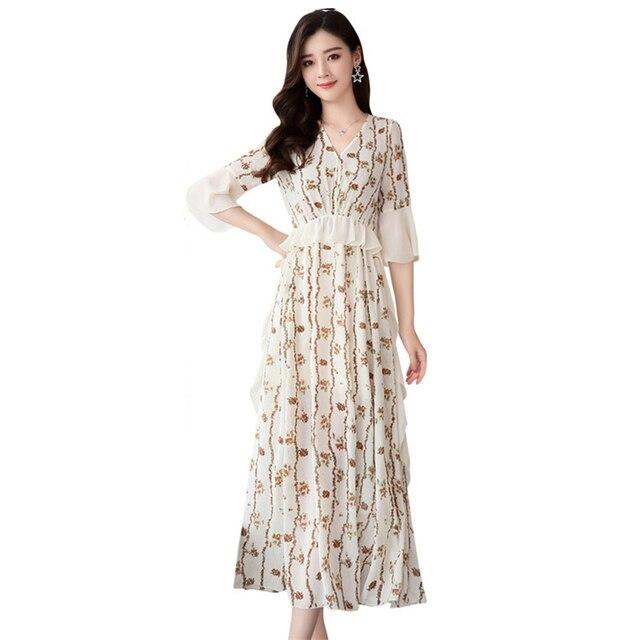 24204d9a816 fashion Chiffon Print Floral Dress Summer Women 2018 New Korean horn half  sleeve V-neck