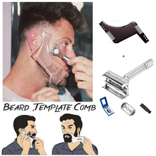 New Arrivals Men Beard Shaping Styling Template Comb Transparent Mens Beards Combs Beauty Tool For Hair Trim Templates
