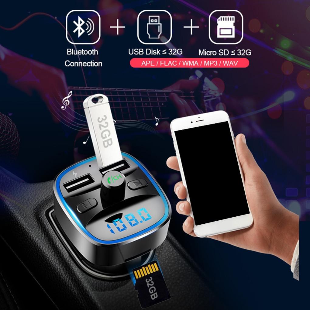T25 Car FM Transmitter Car Charger Bluetooth MP3 Player Intelligent Voice Navigation 12-24 V