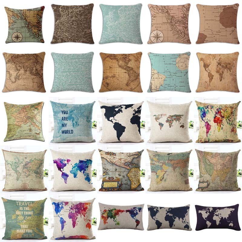 18 Inches Watercolor Vintage Style Cushion Cover World Map Pattern Cotton Linen Pillow Cover Cushion Cover PillowCase Home Decor