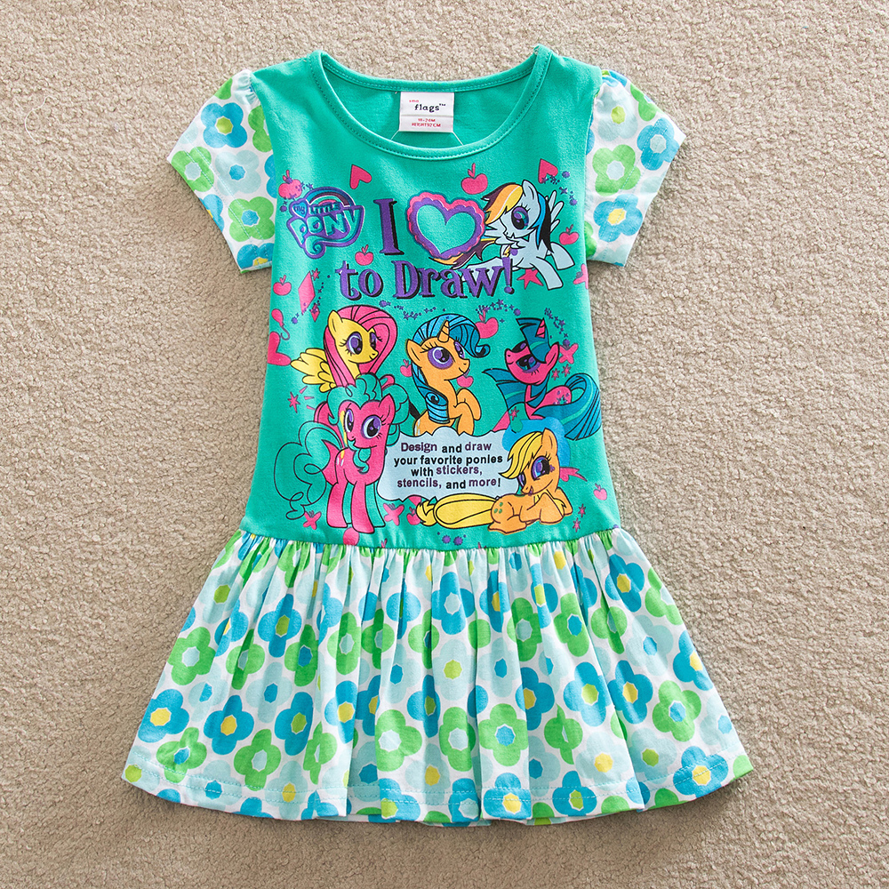 NEAT Baby girl dress  100% cotton Summer children clothes Cute style Flower printing Girl party pleated dress Q9115 baby girl dress 100