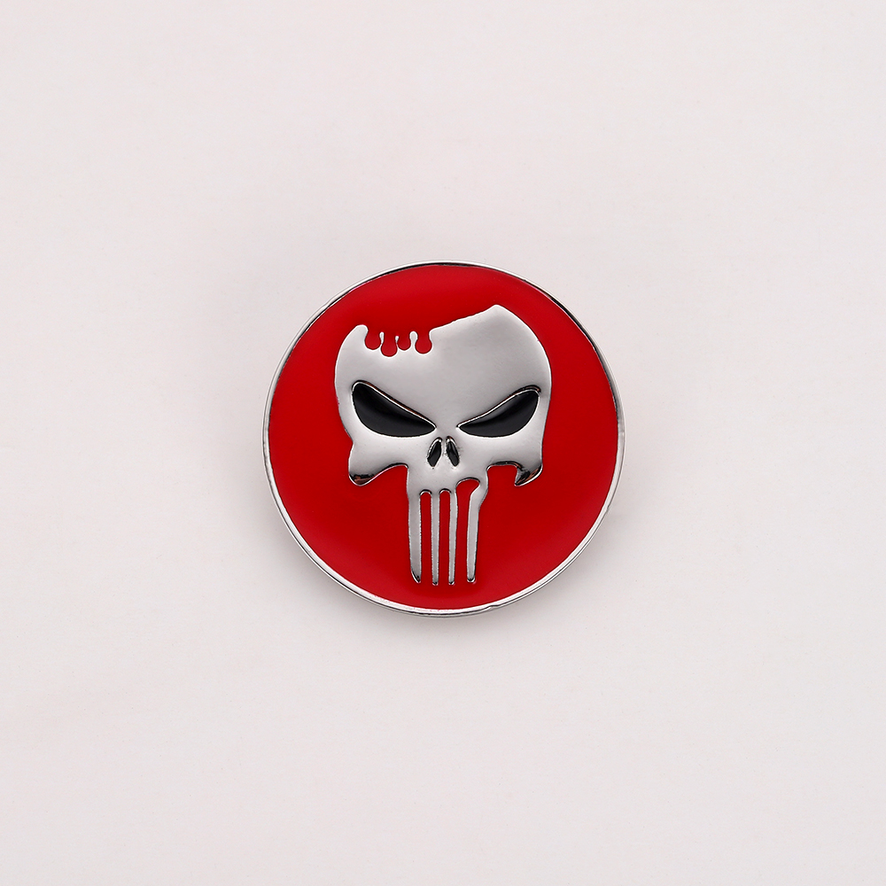 The Punisher Daredevil Marvel Comics Enamel Pin,The Skull Punisher Symbol Brooch as Accessories for the Backpack Christmas Gift image