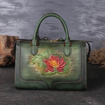 2019 Luxury Women Handbag Genuine Leather Handbags Ladies Retro Elegant Shoulder Messenger Bag Cow Leather Handmade Womans Bags leather