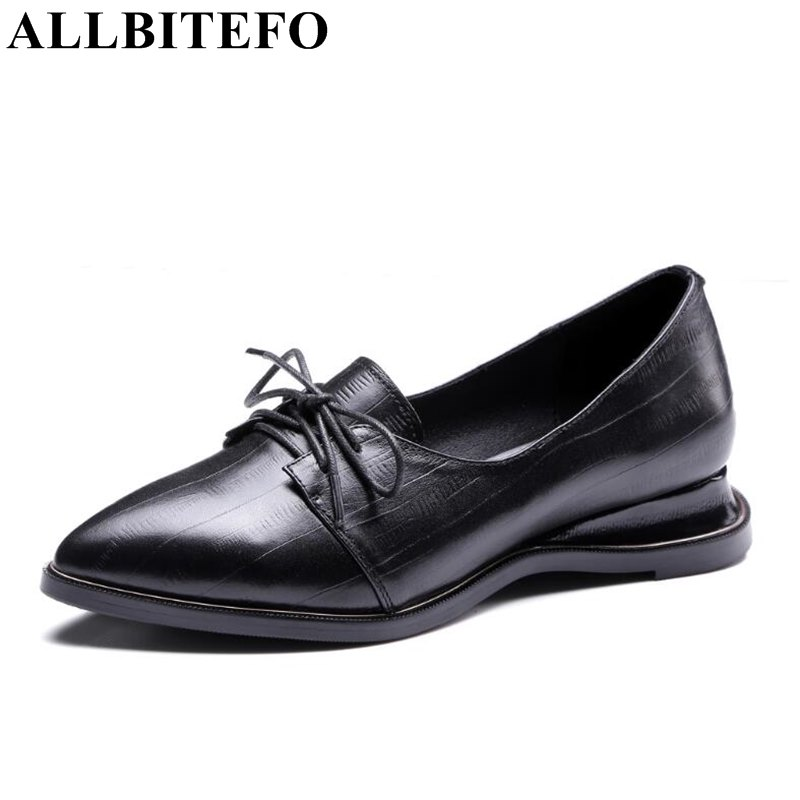 ALLBITEFO new spring genuine leather low-heeled women pumps fashion casual pointed toe wedges heel ladies shoes size: 33-43 new 2017 spring summer women shoes pointed toe high quality brand fashion womens flats ladies plus size 41 sweet flock t179