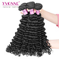 3 Unids/lote Pelo Virginal Peruano Sin Procesar, el 100% Del Pelo Humano de la Onda Profunda, Calidad Superior de Los Aliexpress Yvonne Hair Products, Color 1B