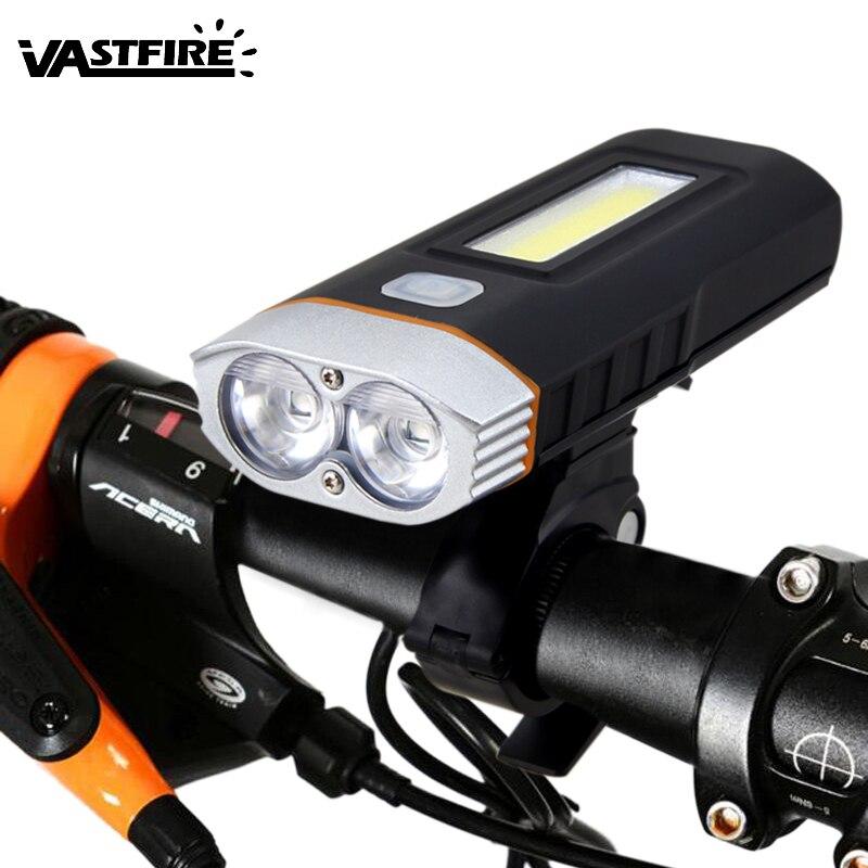 VastFire 1000 люмен светодиодный фонарик T6 + COB спереди велосипед света Перезаряжаемые 18650 Батарея