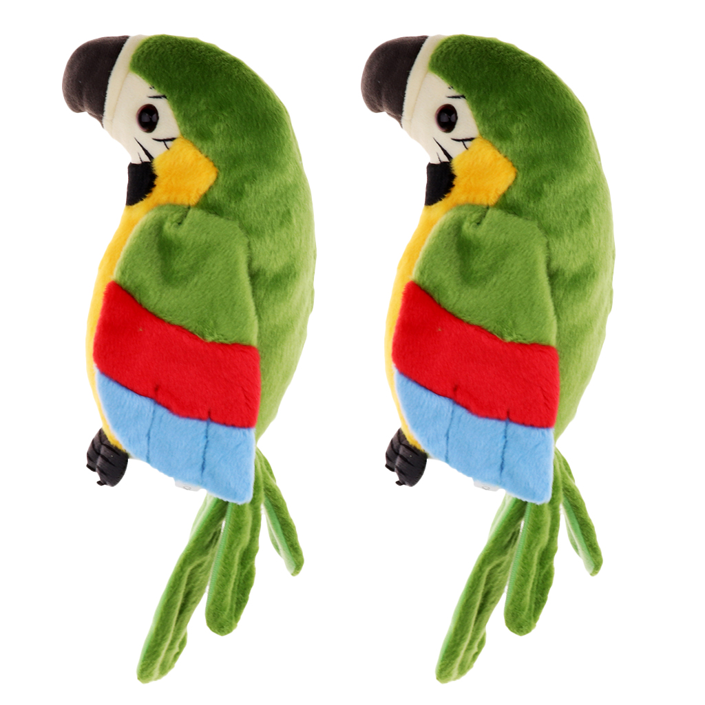 2 Pcs Plush Talking Parrot Toy - Mimics & Repeats Your Words & Sound Gift Kids Electronic Animal Pet Toy Gift for Kids Children