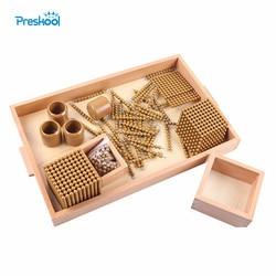 Bambini Montessori Giocattolo di Legno Del Bambino Perline Dorate Giochi Educativi di Apprendimento In Età Prescolare Formazione Brinquedos Juguets