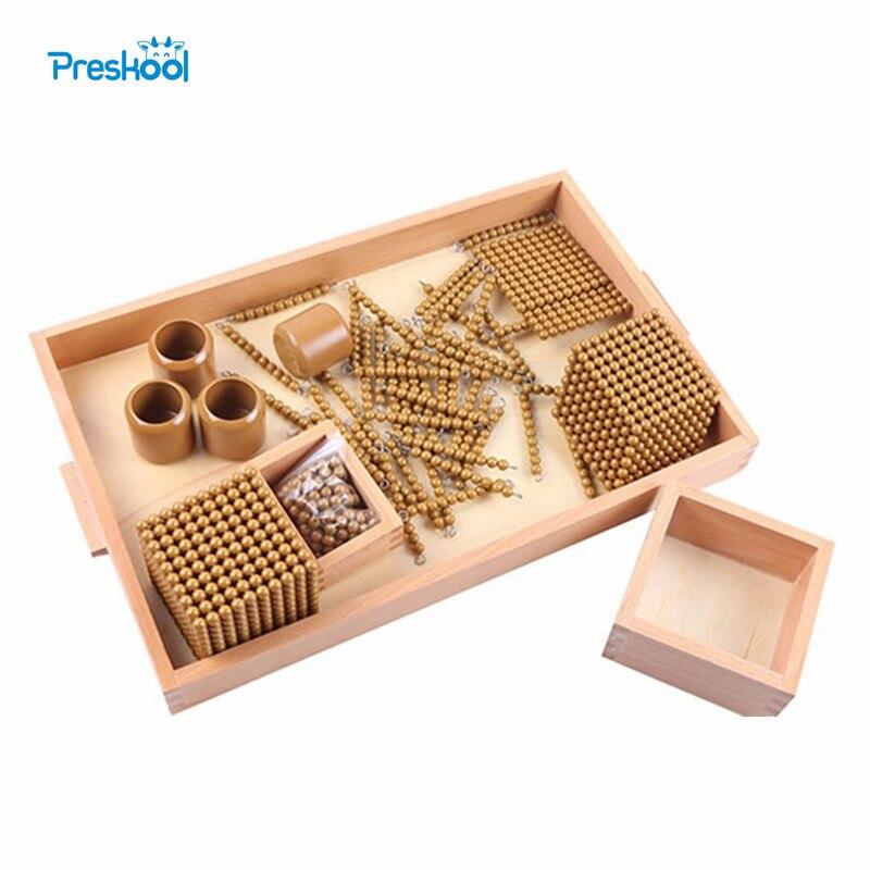 Montessori dla dzieci zabawki dla dzieci drewno złoty koraliki gry nauka szkolenie dla dzieci w wieku przedszkolnym Brinquedos juguetes na title=