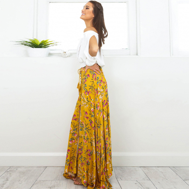 68ece484db Summer Women Yellow Floral Skirt Sexy High Slit Maxi Beach Skirt Boho Style  Bohemian Elegant Fashion Ladies Skirt-in Skirts from Women's Clothing on ...
