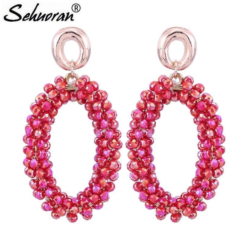 Sehouran Drop Earrings For Women Faceted Beads Handmade Crystal Big Earrings Vintage Earrings Long Brand Jewelry Wholesale