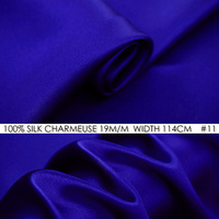 100% SILK CHARMEUSE SATIN 114cm width 19mommes Pure Mulberry Silk Fabric/China Wedding Dress Fabric Suppliers Royal Blue NO 11