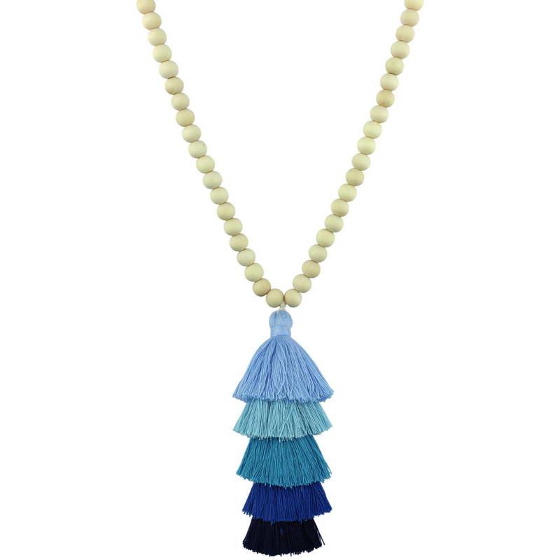 2018 Wooden Necklace Wood Beads Chain Tassel Pendant Long Necklace Women Fashion Texas Bohemian Jewelry Moana Tassel Necklace stylish rhinestoned heart faux crystals beads tassel pendant necklace for women