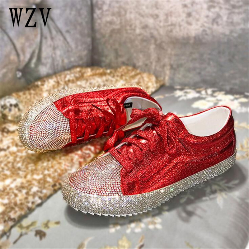 Nouveau 2018 mode casual chaussures cher diamant femmes chaussures à lacets Plat chaussures Zapatillas Mujer Femmes Appartements chaussures femme f153
