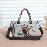 Nice National String Appliques Women Small handbags!Hot Animal Printed Lady Shoulder&Crossbody bags New Multi use Canvas Holder