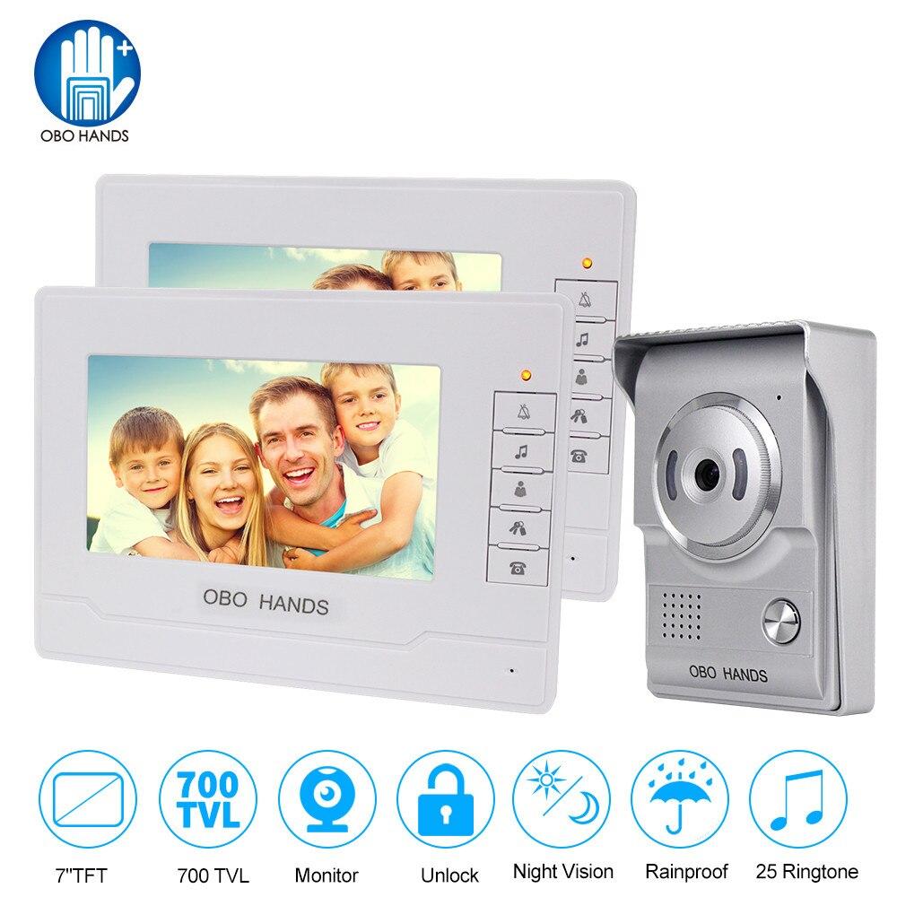 Interphone 7 pouce écran couleur Vidéo sonnette de porte téléphone pour la maison Haut-Parleur Interphone Système Avec Étanche Extérieur IR Caméra