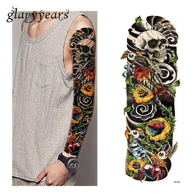 1 Piece Temporary Tattoo Sticker Water Transfer Wing: 1 Piece Tattoo Sticker Full Flower Arm Skull Hear Wing