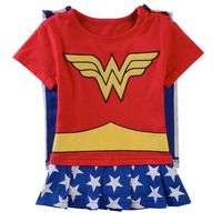 2015 Baby Girl Wonder Woman Rompers Embroidery Summer Infant Clothes Mulher Maravilha Mad Alfred Neuman Fantasia