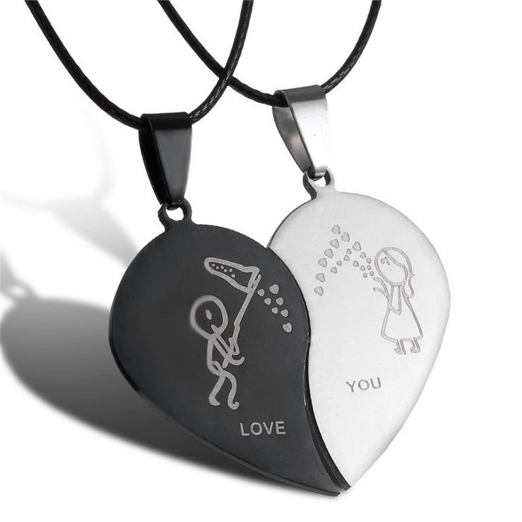 2015-New-Jewelry-Couple-Broken-Heart-choker-Necklaces-Black-Cord-Necklace-Stainless-Steel-Engrave-Love-You