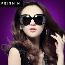 FEISHINI Fashion Big Ladies Glasses Frame Oculos Feminino Vintage High Quality Classic Beautiful Oval Sunglasses Women Polarized