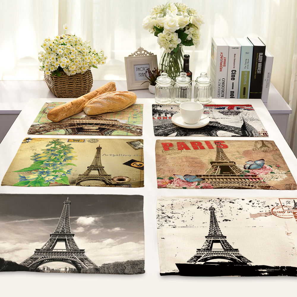 CAMMITEVER Paris Eiffel Tower Kitchen Table Mats Bowl Pad Fashion Table Decoration Slip-resistant Pad Placemat Dining Decor