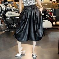 Для женщин пояса из натуральной кожи широкие брюки свободные большой Размеры Мешковатые мотобрюки леди кружево до овчины повседн