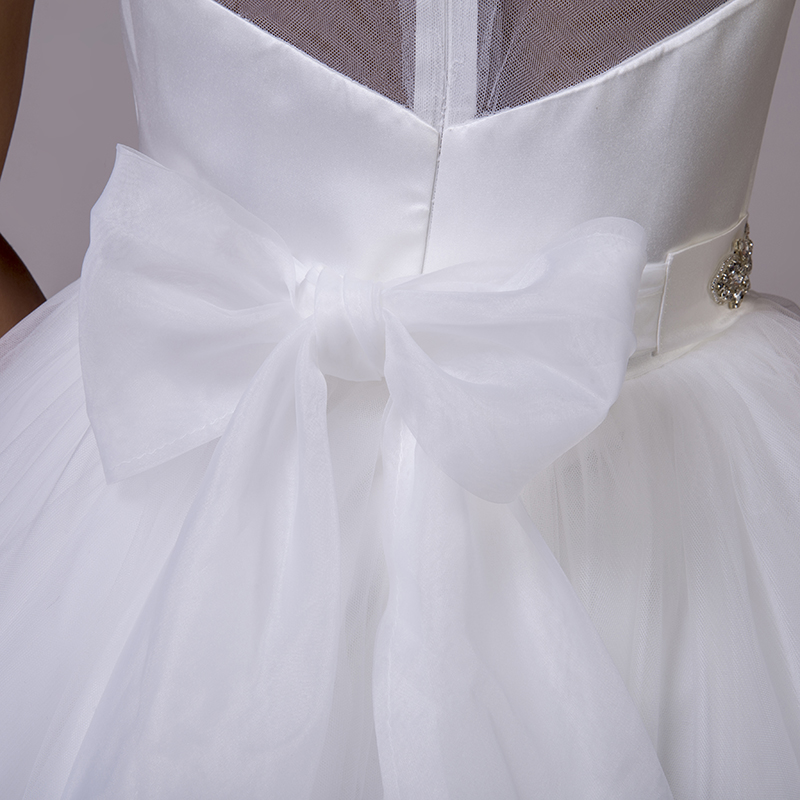 LORIE Beach Wedding Dresses O-Neck Beaded Sashes Princess Tulle Cheap Bridal Dress Free Shipping White wedding Gown Custom Made 9