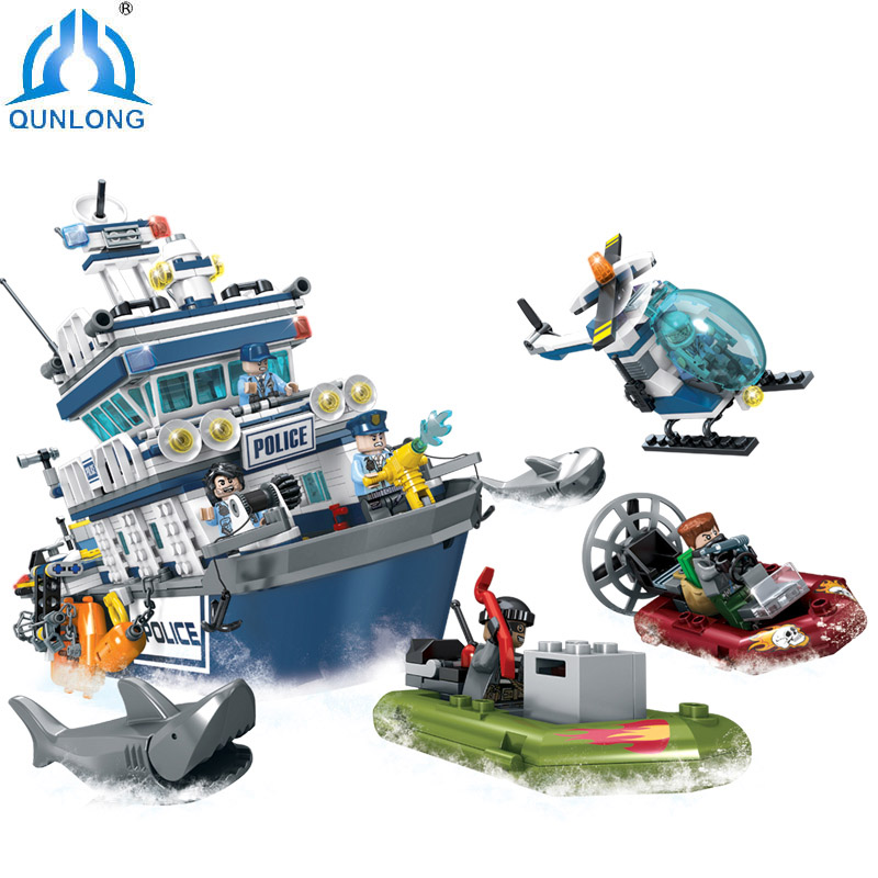Qunlong Toys Police Series Patrol boat Helicopter Building Blocks Compatible Legoe City Police Technic Figures toys for Children 1700 sluban city police speed ship patrol boat model building blocks enlighten action figure toys for children compatible legoe