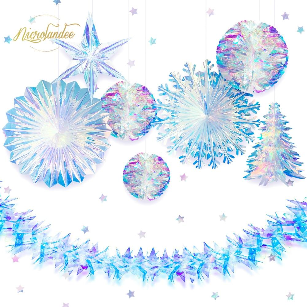 NICROLANDEE 9 pçs/set Decoração Do Partido Rainbow Filme Estrela Floco De Neve Favo De Mel Da Flor Guirlanda de Aniversário de Casamento Decoração de Casa DIY