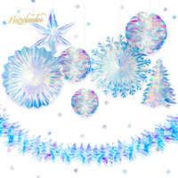 NICROLANDEE 9 teile/satz Party Dekoration Regenbogen Film Stern Schneeflocke Honeycomb Blume Girlande Hochzeit Geburtstag Home Decor DIY
