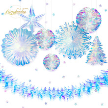 NICROLANDEE 9 pcs/set Party Decoration Rainbow Film Star Snowflake Honeycomb Flower Garland Wedding Birthday Home Decor DIY