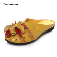 2016 Summer Slides Women Genuine Leather Flat Shoes Soft Outsole Casual Handmade Flower Women Sandals Moccasins female
