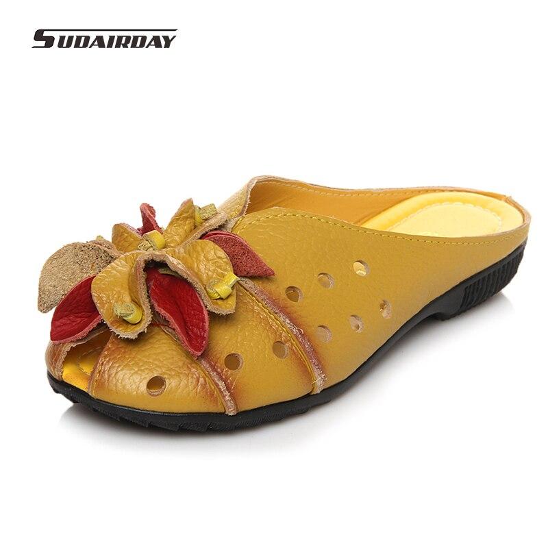цена  2017 Summer Slides Women Genuine Leather Flat Shoes Soft Outsole Casual Handmade Flower Women Sandals Moccasins female size 41  онлайн в 2017 году