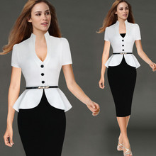 2016 New Womens Peplum Elegant Sexy Deep V Neck Cap Sleeve Tunic Slim Casual Party Club Clubwear Bodycon Sheath Pencil Dress