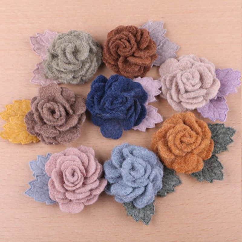 Free Shipping 20pcs Lot Handmade Wool Felt Fabric Rose Flowers