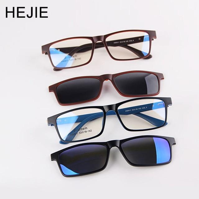 82fa88a001b HEJIE Man Woman Magnetic Polarized Sunglasses Clips ULTEM Spring Hinge  Optical Eyeglasses Frames UV Protection Sun Glasses