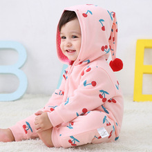 Baby Winter Clothes Pure Cotton Double-Layer WARM Cherry Printed Long Sleeve onesie  new born baby clothes Jumpsuits