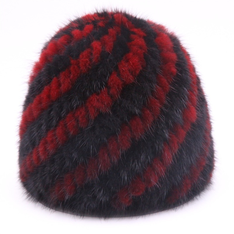 100% Mink Fur Knitted Pineapple Cap for 2017 Girls Stripped Casual Style Warm Mink Hat Real Fur Women's Hats for The Winter import mink hand knitted pineapple mink hat fur hat thermal millinery rabbit hair hat