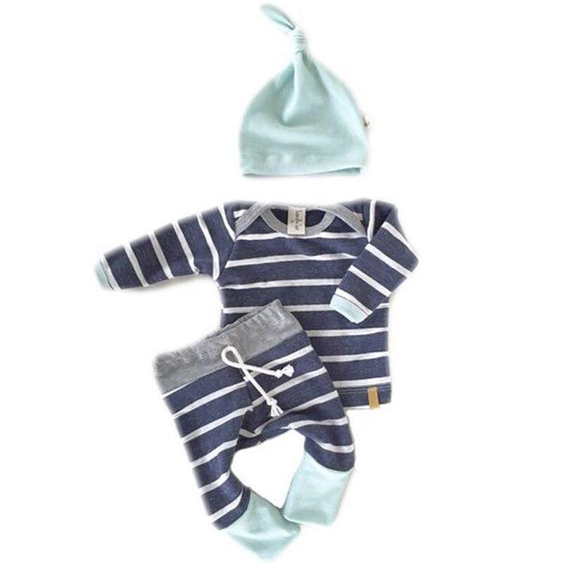 3 unids bebé Niños Niñas niños ropa set recién nacido Tops Camisetas manga larga Pantalones del equipo del sombrero conjunto