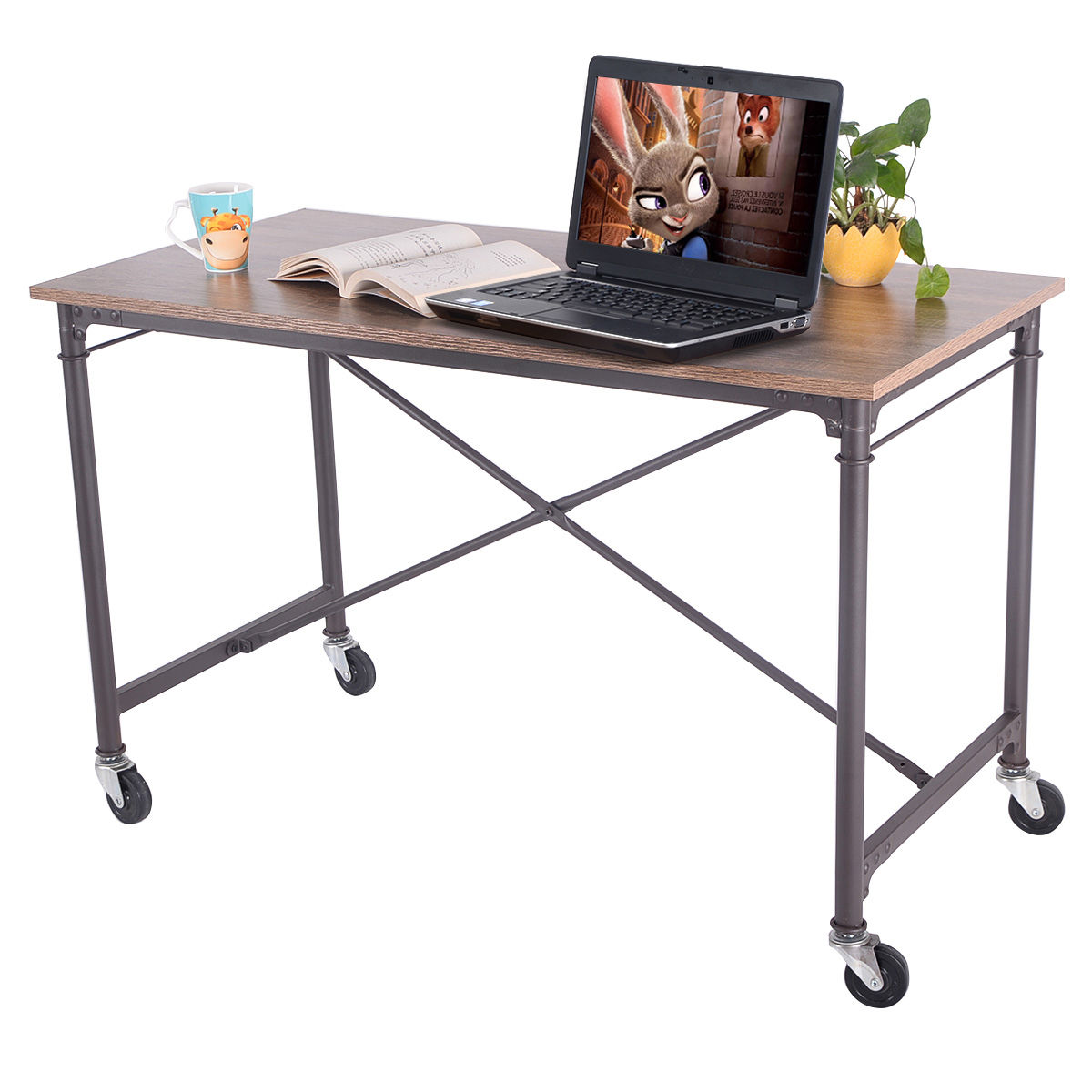 Table On Wheels Giantex Computer Desk Laptop Writing Table Wheels Rolling Portable Wood Desk Modern Home Office Furniture Hw51983