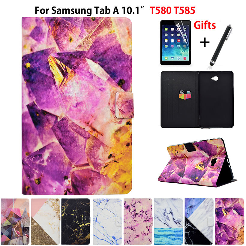 Marble Pattern Case For Samsung Galaxy Tab A A6 10.1 2016 SM-T580 T585 T580 Case Smart Cover Funda Tablet PU Flip Shell+Film+Pen fashion pu leather flip case for samsung galaxy tab a a6 10 1 2016 t580 t585 sm t580 smart case cover funda tablet sleep wake up